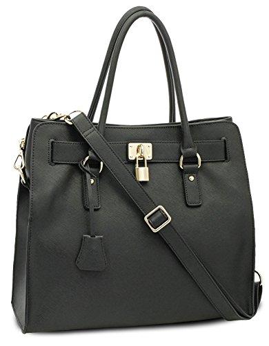 BOVARI-sac--main-Golden-Padlock-Bag-cuir-de-veau--imprim-saffiano-37x30x16cm-noir-0